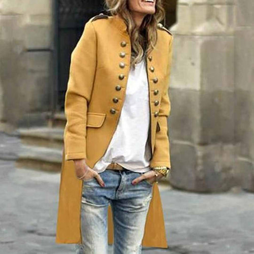 Band Collar  Double Breasted  Plain Trench Coat