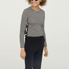 Load image into Gallery viewer, Round Neck  Lace Up  Striped T-Shirts