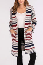 Load image into Gallery viewer, Snap Front  Striped Cardigans