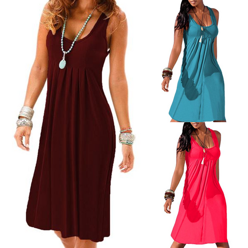 Solid Color Round Neck Folds High Waist Dress