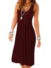 Load image into Gallery viewer, Solid Color Round Neck Folds High Waist Dress