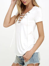 Load image into Gallery viewer, Lace-Up V-Neck Short-Sleeved T-Shirt