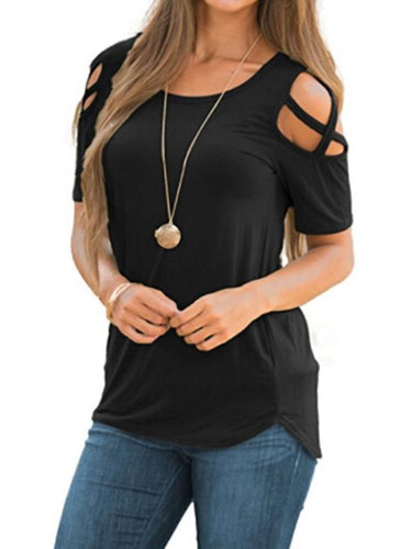 Solid Color Round Neck T-Shirt