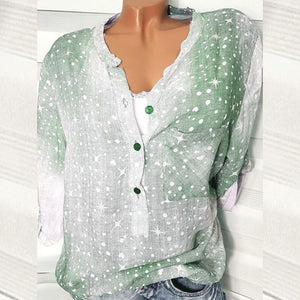 V Neck  Single Breasted  Print Blouses