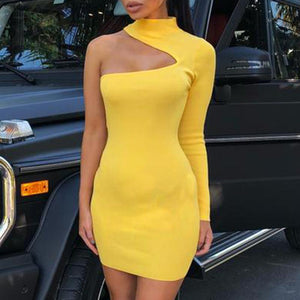 Sexy One-Shoulder Long Sleeve Bodycon Dress