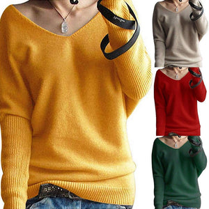V Neck Long Batwing Sleeve Plain Knitting Sweaters