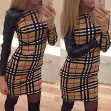 Load image into Gallery viewer, Round Neck Plaid PU Patchwork Bodycon Dresses