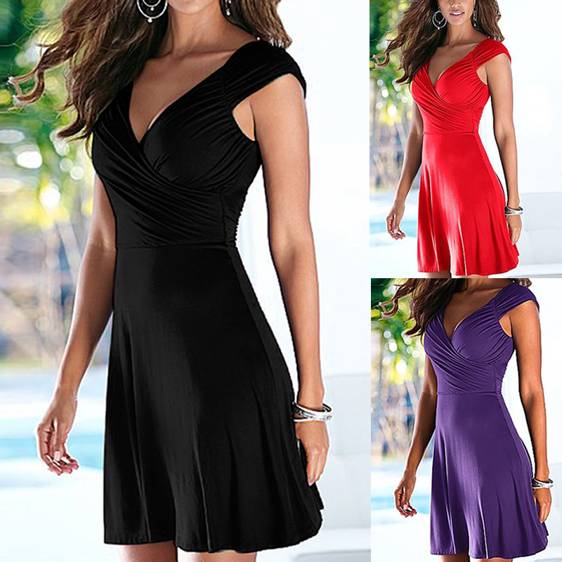 V-Neck  Plain Casual Dress
