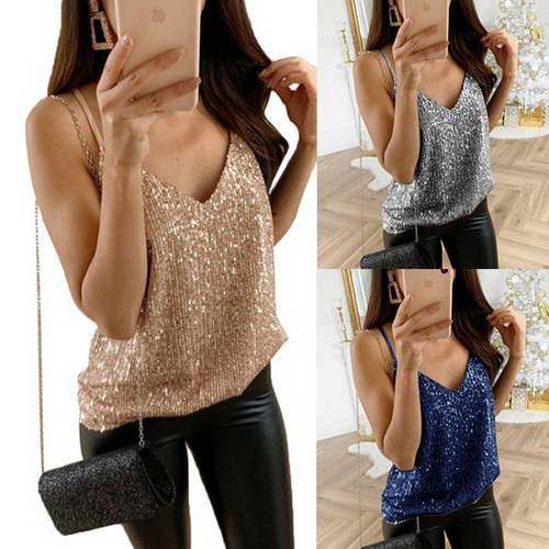 Spaghetti Straps Shining Sequins Sleeveless Fashion Camis
