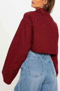 Turn Down Collar  Single Breasted  Exposed Navel  Gingham  Blouses