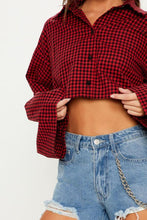 Load image into Gallery viewer, Turn Down Collar  Single Breasted  Exposed Navel  Gingham  Blouses