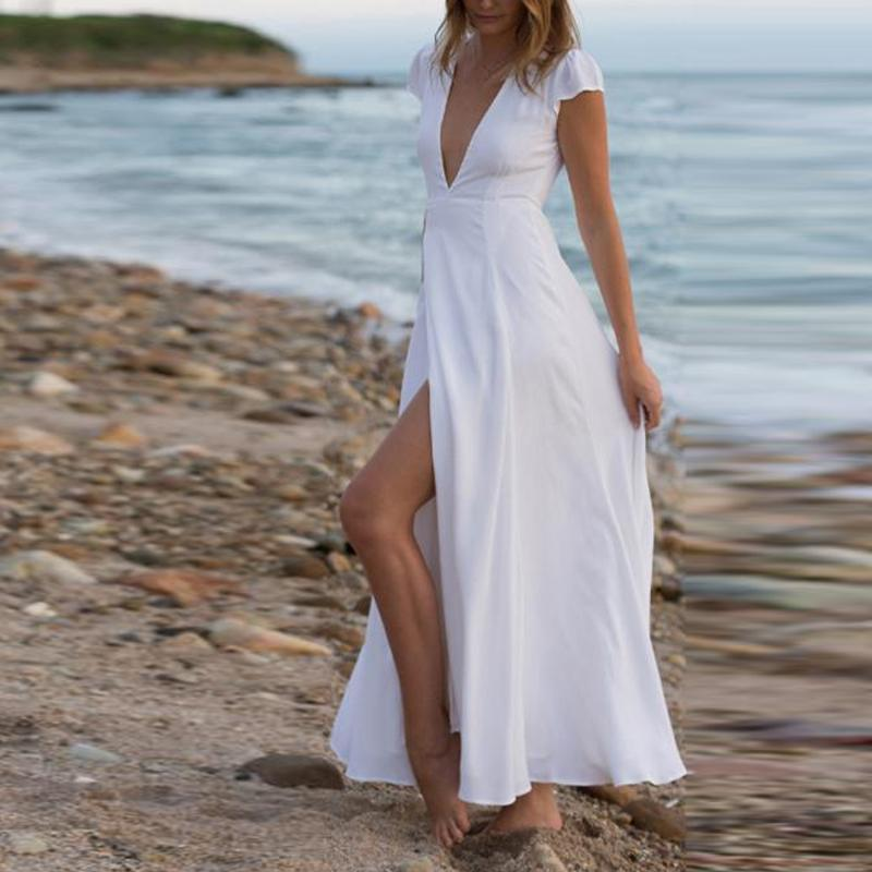 Fashion Deep V Collar Belt Bohemia Beach Maxi Dress