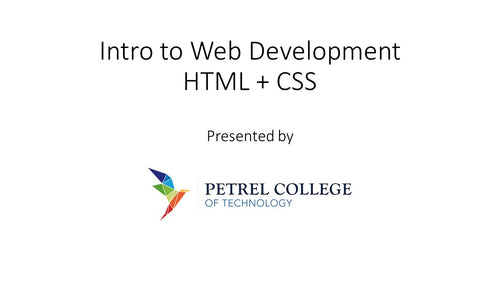 Workshop: Intro to Web Development HTML & CSS