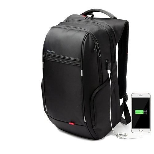 Leather Backpack Laptop Bag USB Port Anti-theft Technology - RoyaleCart