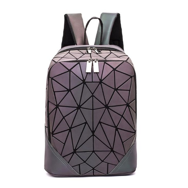 Luminous Shoulder School Backpack Color Changing Bag Geometric Set - RoyaleCart