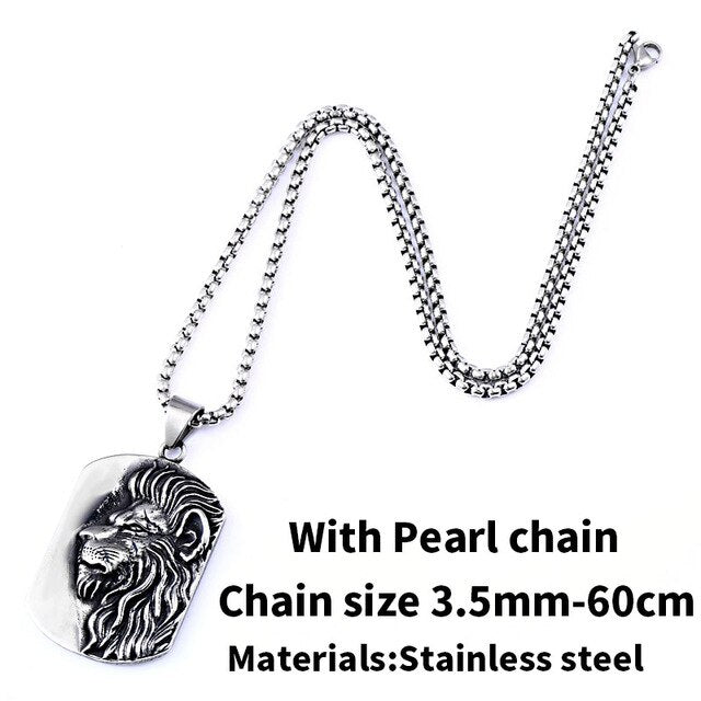 Stainless Steel Pendant Necklace 3D Lion Head  Dog Tag Animal Jewelry - RoyaleCart