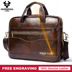 Free Engraving Genuine Leather Handbag Business Shoulder Briefcase Bag - RoyaleCart