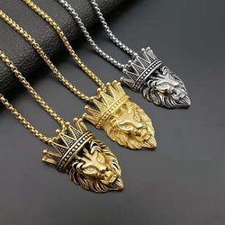 King Lion Head Pendant Necklace Stainless Steel With Platted Chain - RoyaleCart