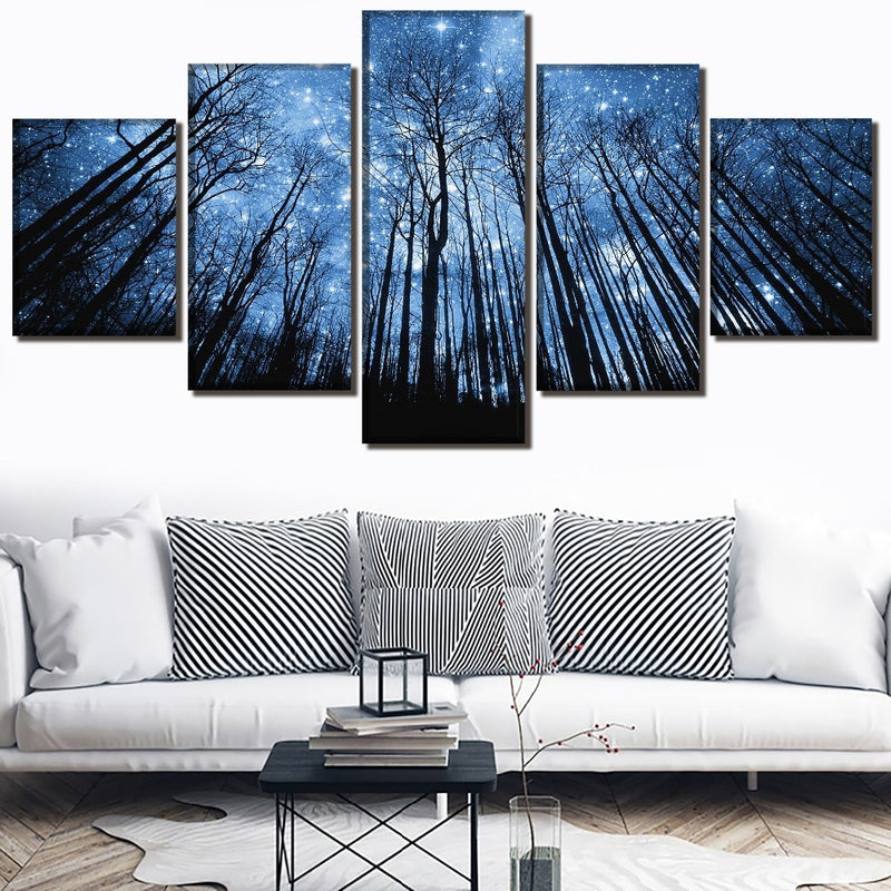 Landscape Pictures 5 Pieces Stary Nights Tiff Poster Modern Wall Art Home Decorative Modular Framework Canvas HD Print Poster - RoyaleCart