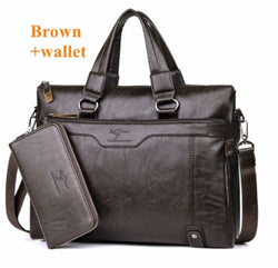 Genuine Leather Briefcase Shoulder Bag for 14