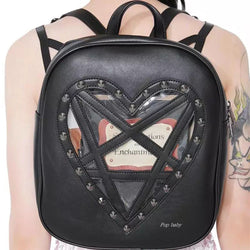 Womens Leather Goth Heart Shaped Pentagram Black Harajuku Backpack Bag - RoyaleCart