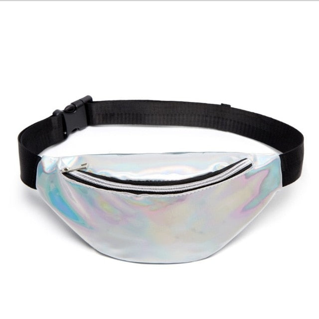 Pink Holographic Fanny Pack Waist Belt Chest Tote Bag - RoyaleCart