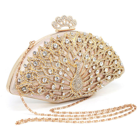 Peacock style ladies Clutches with chain