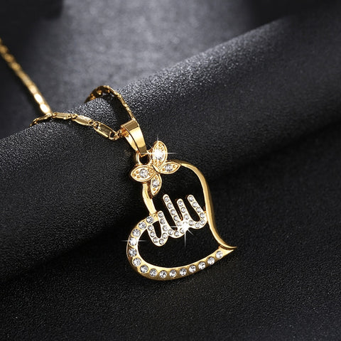Heart Shape Allah Necklace Chain
