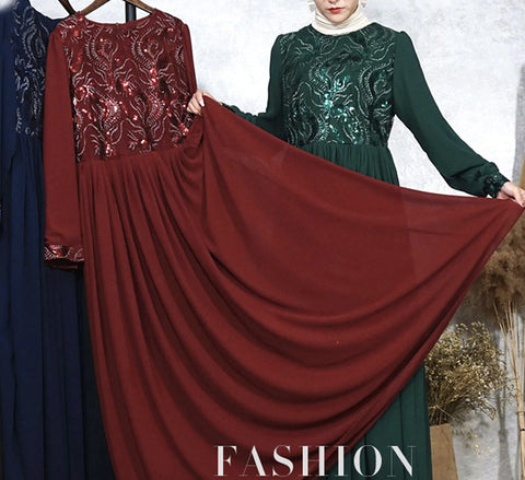 Real Picture of Muslim Embroidered Evening Maxi Dress