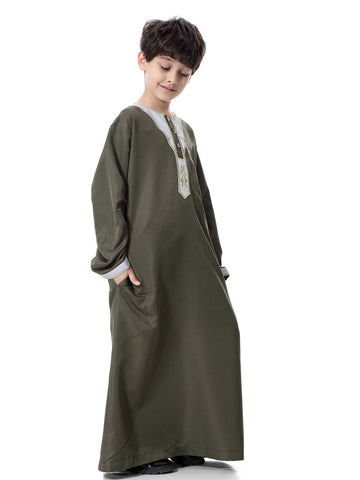 Kids Jubba Thobes Army Green Color Children Robes