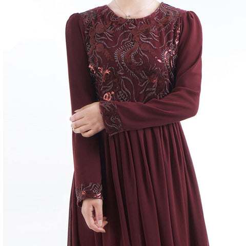 Wine Embroidered Evening Maxi Dress