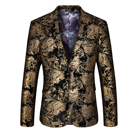Men's Party  Daily Club Sophisticated Fall Regular Blazer, Polyester Print Gold Coat