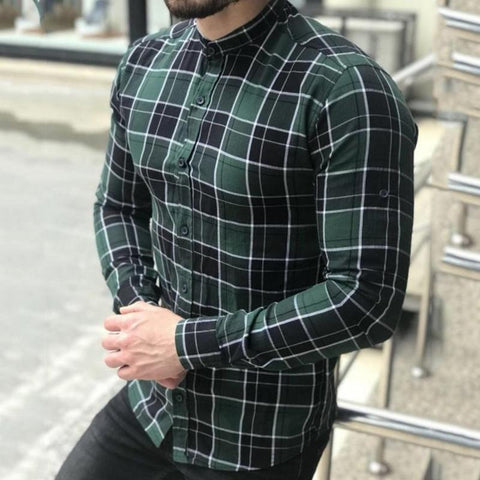 New stand collar slim men's check shirt