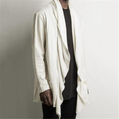 Fashion Youth Casual Loose Plain Long Sleeve Men Outerwear