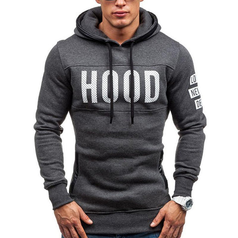 Basic Solid Color Printed Slim Hoodie