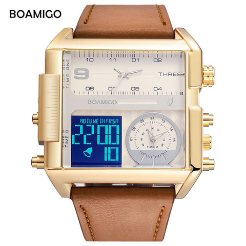 30 Meters Waterproof Three Time Zone Electronic Watch