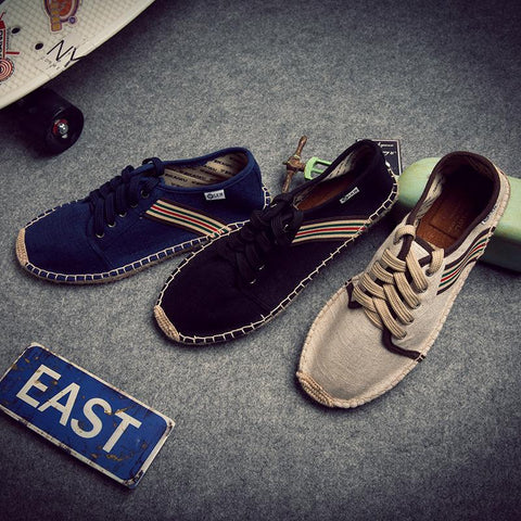 Japanese Style Stripe Round Head Flax Casual Shoes