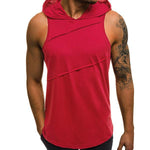 Fashion Sports Fitness Cotton Solid Color Hooded Vest