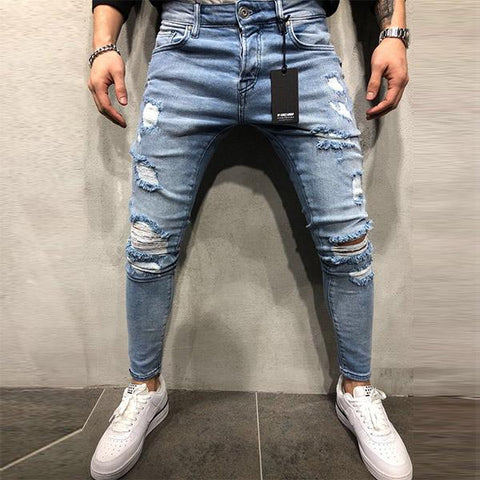 Fashion Slim Street Washed Style Ripped Zip Jeans