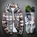 Fashion Men's Plaid Windproof Hooded Jacket