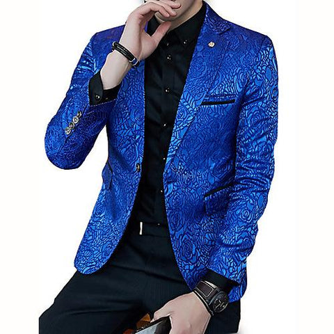 Men's Party / Work Regular Blazer, Solid Colored V Neck Polyester Coat
