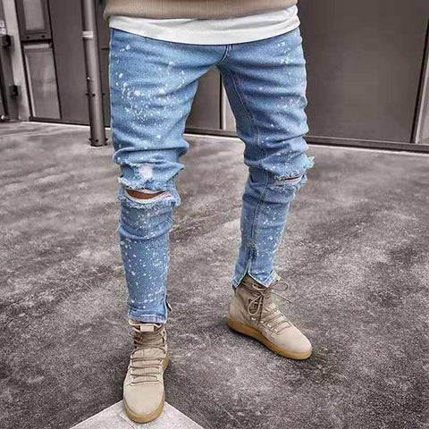 Fashion High Street Light-Slim-Fit Ripped Jeans
