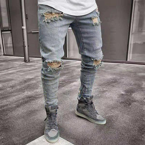 High Street Style Slim-Fit Ripped Jeans