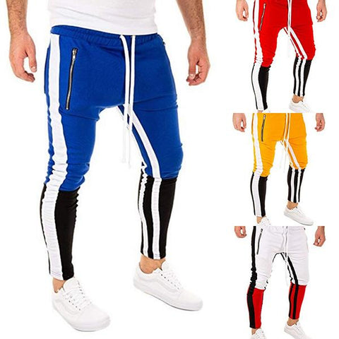 Fashion High Street Colorblock Slim-Fit Pants