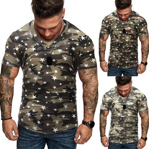 Men's Fashion Camouflage Star Print T-Shirt