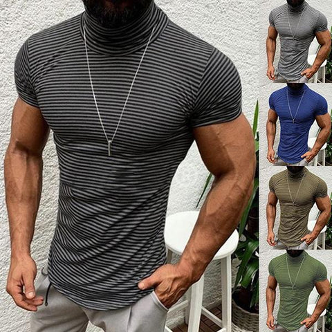 Men's Fashion Stripe High Collar T-Shirt