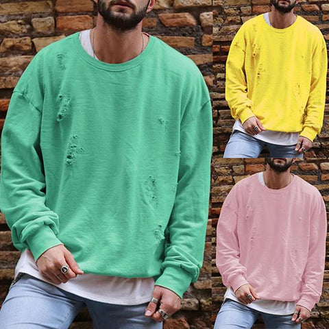 Men's Fashion Solid Color Ripped Sweatshirt