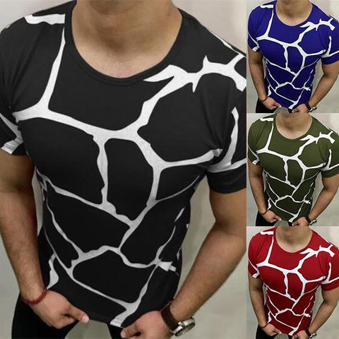 Men's Fashion Print Slim Short Sleeve T-Shirt