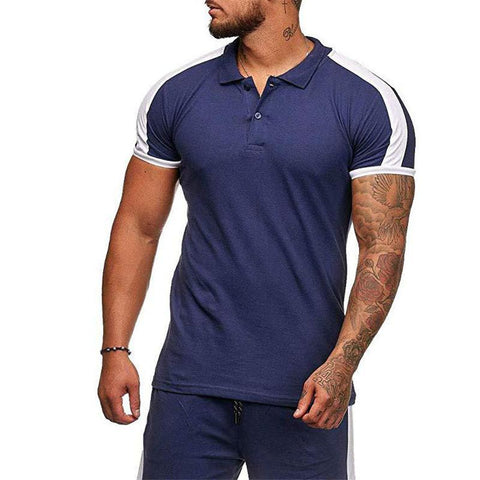Sports Fitness Blue Patchwork Lapel Polo Shirts