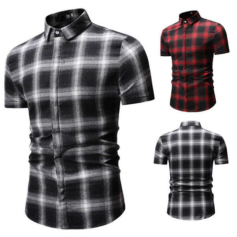 Men's Casual Checked Short-Sleeved Shirt